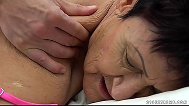 Granny eats a young guy'_s cum