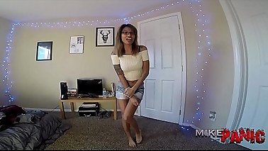 Asian Step Sister Jerks Me Off and Laughs