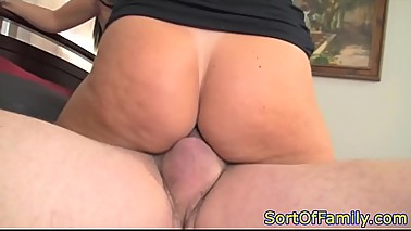 MILF and stepdaughter riding a lucky cock