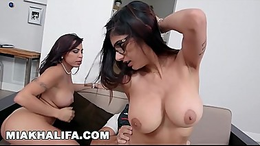 MIA KHALIFA - Young And Beautiful Mia Khalifa Riding Dick, Eating Julianna Vega'_s Pussy