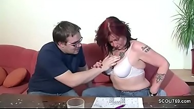 German Mother Helps Her Ugly Step-guy with First Fuck