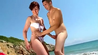 Mom has anal on beach
