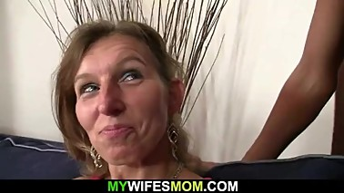 She watches her husband fucks old mom inlaw