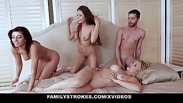FamilyStrokes- Naughty Teens Blackmail MILF Into Fucking