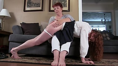 Senior Skip Day : A Hard Spanking given to redhead by stepmom