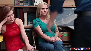 Shoplifter Nina shares a big cock with mom Christie