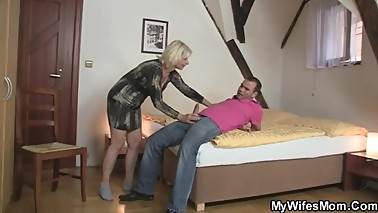 My Wifes Mom - mother-in-law sucks dick to her husband's