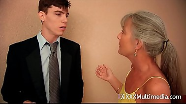 Stepmom fucks young guy on prom night and takes his virginity - Leilani Lei