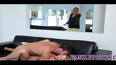 Teen stepdaughter gets oral and rides cock after deepthroating