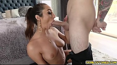 Juan Loco cock feeding his hot step mom Christiana Cinn his young cock!