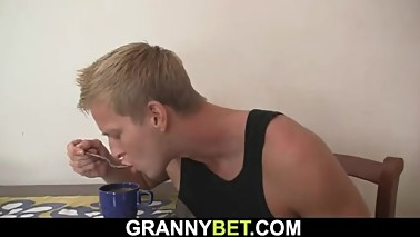 He doggy-fucked hot blonde mature mommy
