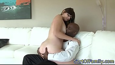 Bigass amateur sucking on a big black cock